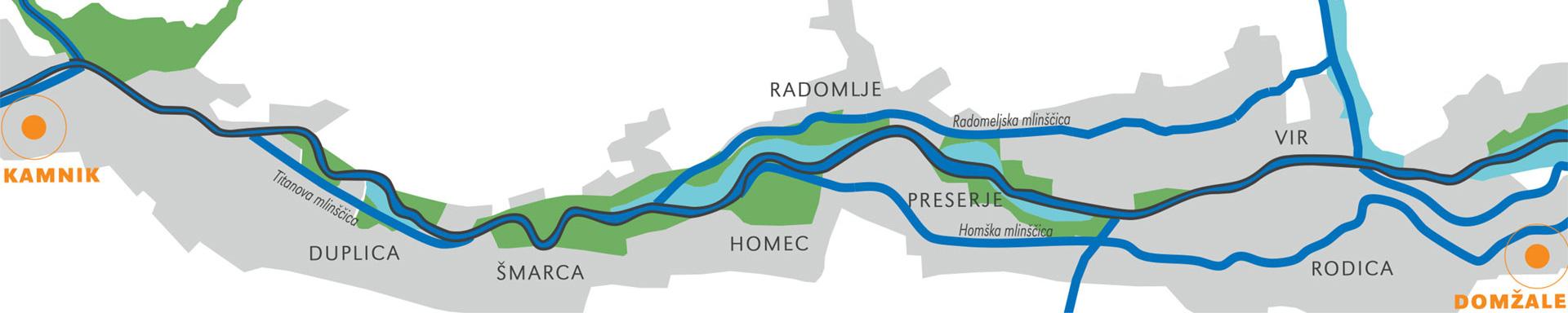 pohod ob reki - karta poti ob kamniški bistrici